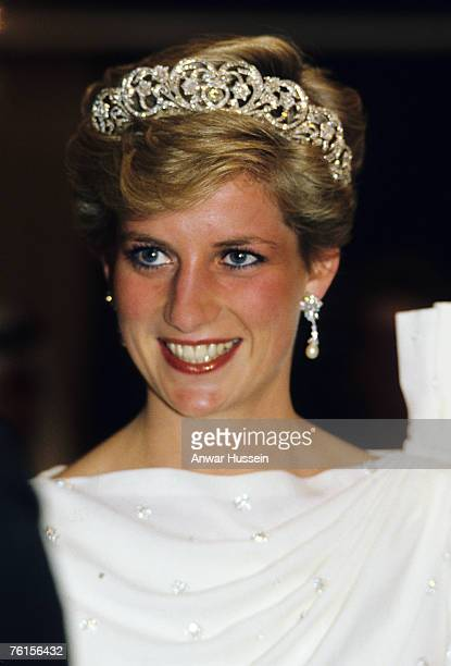 Diana Princess of Wales looks radiant in a tiara during a visit to Bahrain in November 1986