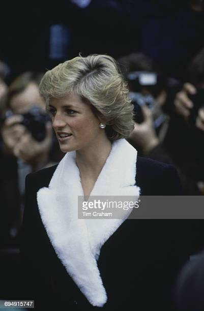 Diana Princess of Wales wearing a white faux fur collar in Paris France 10th November 1988