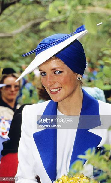 Princess Diana Princess of Wales wears a Philip Somerville turban hat during her visit to Dubai in March 1989
