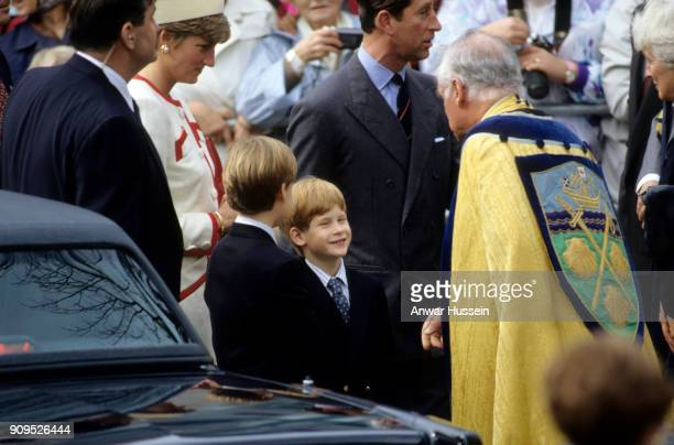 Prince William and Prince Harry visit a church in Toronto with their parents Prince Charles Prince of Wales and Diana Princess of Wales on October 27...