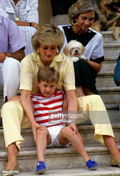 Princess Diana Princess of Wales sits of some steps with Prince William and Queen Sofia of Spain during a holiday in Majorca on August 10 1987 in...