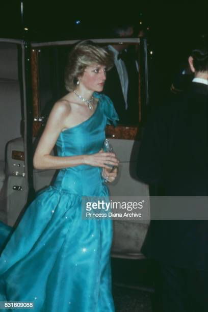 Diana Princess of Wales wearing an asymmetrical emerald green gown designed by Bruce Oldfield at the Red Dragon Ball Grosvenor House Hotel London...