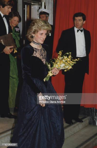 Diana, Princess of Wales wearing an evening dress by Catherine Walker to the premiere of the film 'Amadeus' in London, January 1985.