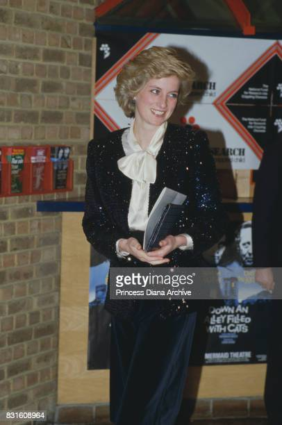 Diana Princess of Wales wearing an outfit designed by fashion designer Jan Van Velden attends an event at the Mermaid Theatre London January 1986