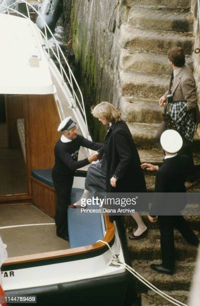 Diana Princess of Wales wearing maternity dress designed by Catherine Walker at St Mary's on the Isles of Scilly UK April 1982