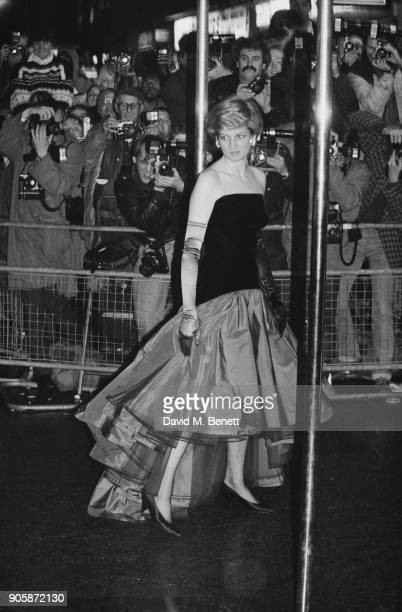 Diana Princess of Wales wearing offtheshoulder flamenco style dress at the UK premiere of the film 'Children Of A Lesser God' in aid of the 'British...