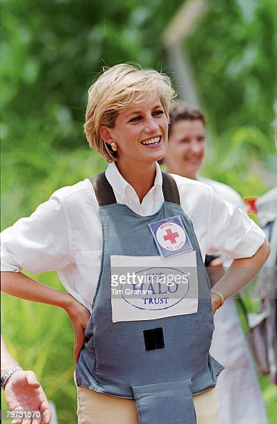 Diana Princess of Wales wearing protective body armour visits a minefield being cleared by the chirty Halo in Huambo Angola