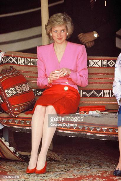 Diana Princess of Wales wears a Catherine Walker suit and a Philip Somerville hat at the Islamic Museum during her official tour of the Gulf States...
