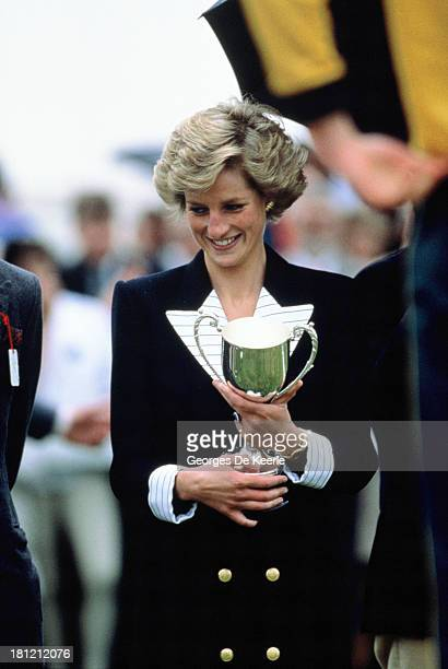Diana Princess of Wales wears a Catherine Walker suit as she starts the Windsor Pentathalon in Windsor Great Park on July 10 1988 in Windsor England