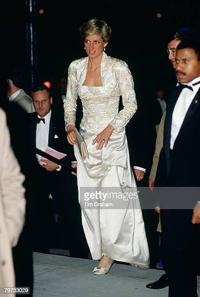 Diana, Princess of Wales wears a dress designed by Victor Edelstein to the Brooklyn Academy of Music to see the Welsh National Opera Gala production...