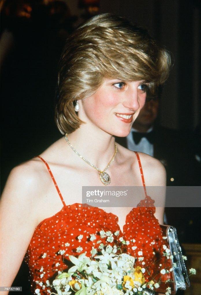 Diana, Princess of Wales wears a gold and diamond necklace i : News Photo