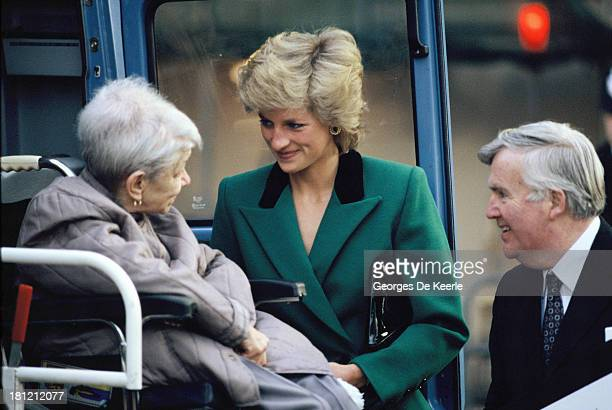 Diana Princess of Wales wears a green Victor Edelstein suit on January 19 1989 in London England