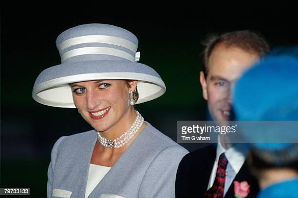 Diana Princess of Wales wears a hat designed by Marina Killery to the wedding of Viscount Linley to Serena Stanhope