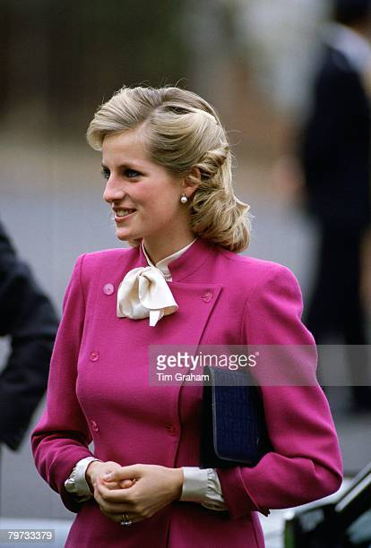 Diana Princess of Wales wears a Jasper Conran suit to a charity event at 'Sense' in Ealing