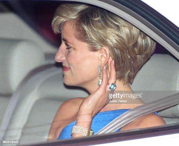 Retransmission of with alternate crop Diana Princess Of Wales wears an emeraldcut aquamarine ring as she attends The Victor Chang Research Institute...