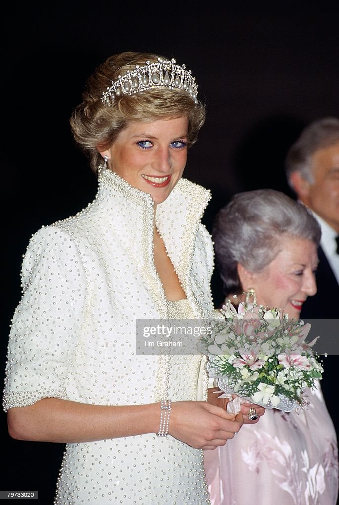 Diana, Princess of Wales wears an outfit described as the 'E : News Photo