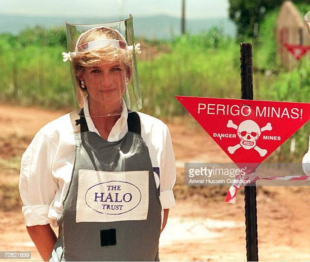 Diana Princess of Wales wears body armour during a visit to a landmine on January 1997 in Angola