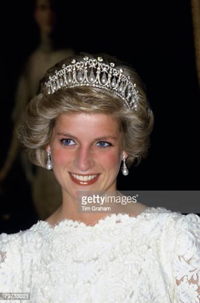 Diana, Princess of Wales wears the Cambridge Knot Tiara at the British Embassy in Washington
