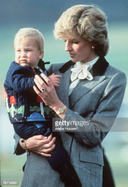Diana Princess of Wales with baby Prince William at Aberdeen airport Scotland 24 October 1983