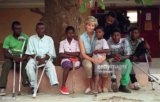 Diana Princess Of Wales With Children Injured By Mines At Neves Bendinha Orthopaedic Workshop In Luanda Angola