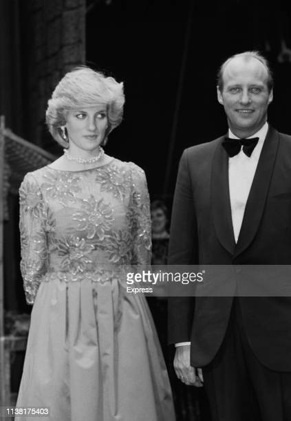 Diana Princess of Wales with Crown Prince Harald of Norway at a performance by the London City Ballet in Oslo Norway 13th February 1984 She is...