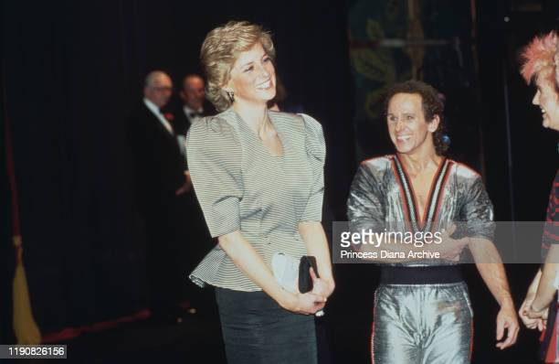 Diana Princess of Wales with dancer Wayne Sleep after a performance of 'Song and Dance' at the Bristol Hippodrome Bristol England April 1988