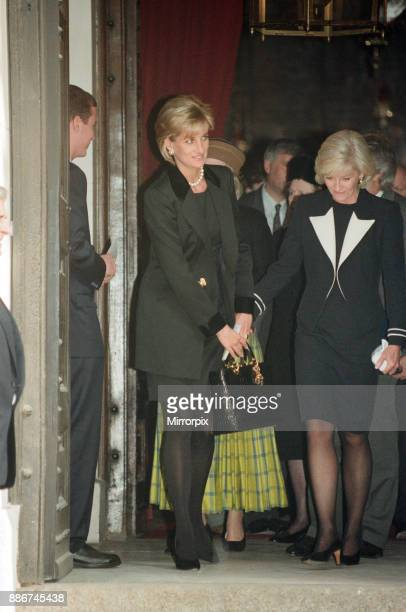 Diana Princess Of Wales with Diana Donovan the widow of photographer Terence Donovan as they leave his memorial service at St George's Church Hanover...