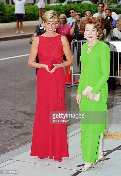 Diana Princess of Wales with Elizabeth Dole attends a fund raising gala dinner for the American Red Cross in Washington Diana is wearing a dress...