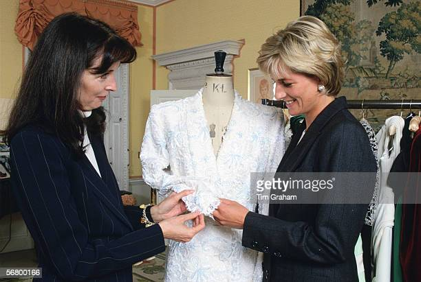 Diana Princess of Wales with fashion designer Catherine Walker inside Kensington Palace.