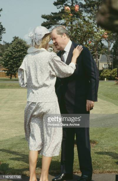 Diana Princess of Wales with her father John Spencer 8th Earl Spencer at Northampton July 1983