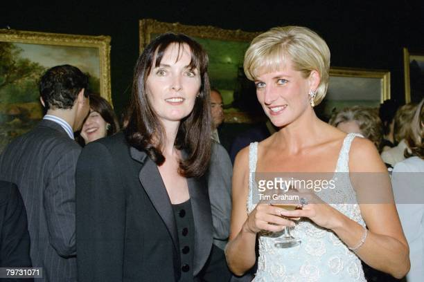 Diana, Princess of Wales with her friend, dress designer, Catherine Walker at a private viewing and reception at Christies in aid of the Aids Crisis...