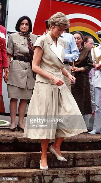 Diana Princess Of Wales With Her Friend Lucia Flecha Da Lima During Her Official Tour Of Brazil The Princess Is Wearing A Beige Culotte Suit