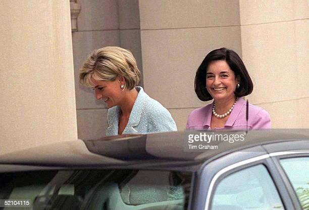 Diana Princess Of Wales with her friend Lucia Flecha De Lima at the Brazilian embassy official residence in Washington DC 16th June 1997 Diana is...