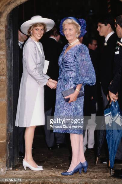 Diana Princess of Wales with her mother Frances Shand Kydd at the wedding of Diana's brother Viscount Althorp to Victoria Lockwood at St Mary's...