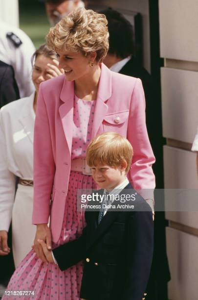 Diana Princess of Wales with her son Prince Harry at Clarence House in London on the Queen Mother's 92nd birthday 4th August 1992