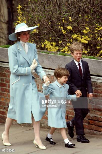 Diana, Princess Of Wales, With Her Son, Prince William And Her Nephew, Peter Phillips, On Their Way To Easter Service. The Princess Is Wearing A Pale...
