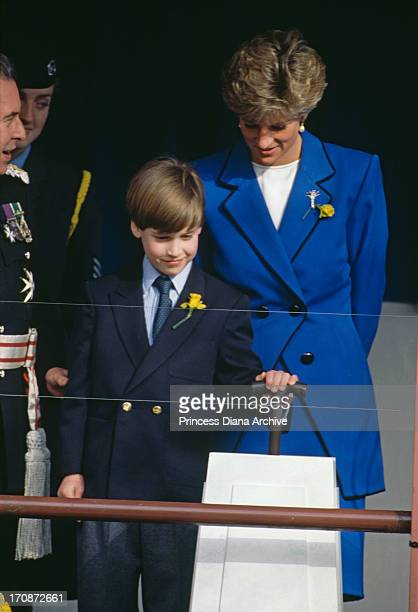 Diana Princess of Wales with her son Prince William at his first official engagement Cardiff March 1991