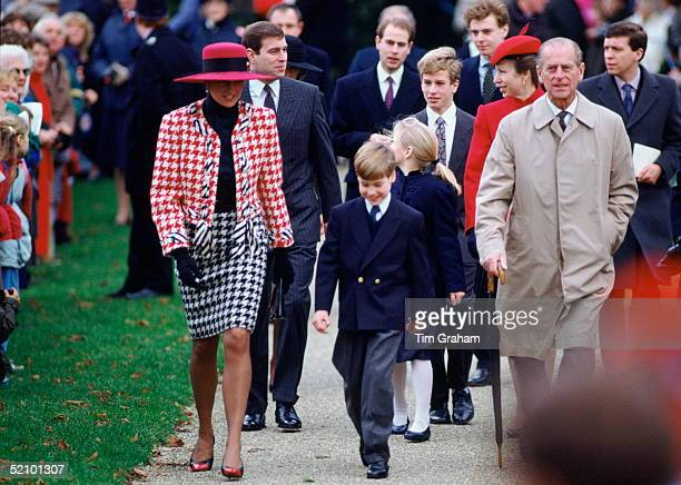 Diana, Princess Of Wales, With Her Son, Prince William Attending Sunday Service At Sandringham Church With Prince Philip, Prince Andrew, Zara And...