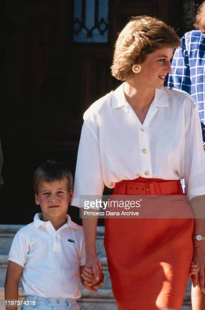 Diana, Princess of Wales with her son Prince William during a holiday with the Spanish royal family at the Marivent Palace in Palma de Mallorca,...