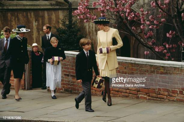 Diana, Princess of Wales with her son Prince William outside St George's Chapel, Windsor, at Easter, April 1992. Behind them are Princess Anne with...
