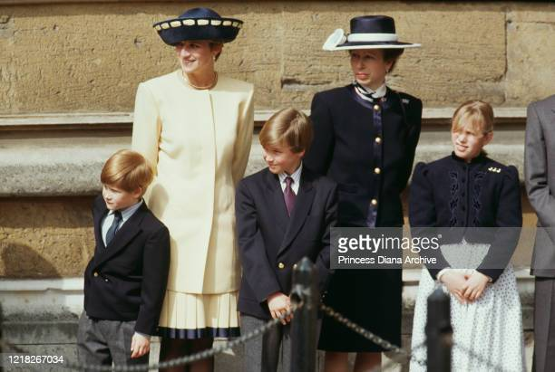 Diana Princess of Wales with her sons Prince Harry and Prince William and Princess Anne and Zara Phillips outside St George's Chapel Windsor at...