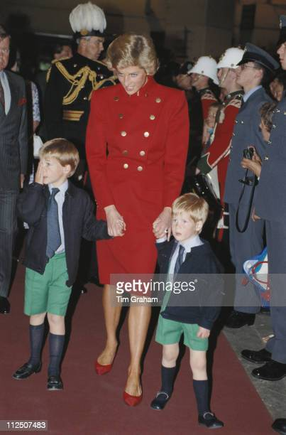 Diana, Princess of Wales , with her sons, Prince William and Prince Harry, at the Royal Tournament, Earls Court, London, England, Great Britain, 28...