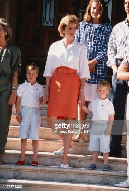 Diana, Princess of Wales with her sons Prince William and Prince Harry during a holiday with the Spanish royal family at the Marivent Palace in Palma...