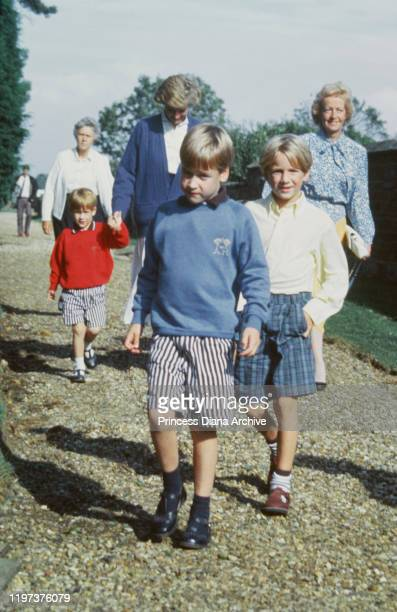 Diana Princess of Wales with her sons Prince William and Prince Harry and her mother Frances Shand Kydd at St Mary's Church in Great Brington...