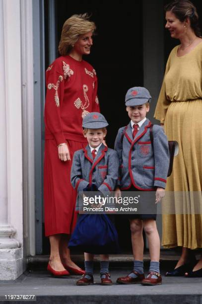 Diana, Princess of Wales with her sons Prince William and Prince Harry on Harry's first day at Wetherby School in London, September 1989.