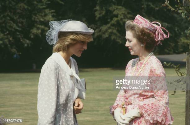 Diana Princess of Wales with her stepmother Raine Spencer Countess Spencer at Northampton July 1983