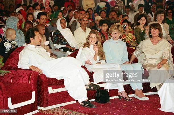 Diana Princess of Wales with Imran and Jemima Khan and Annabel Goldsmith at the Shaukat Khanum Memorial Hospital Lahore Pakistan