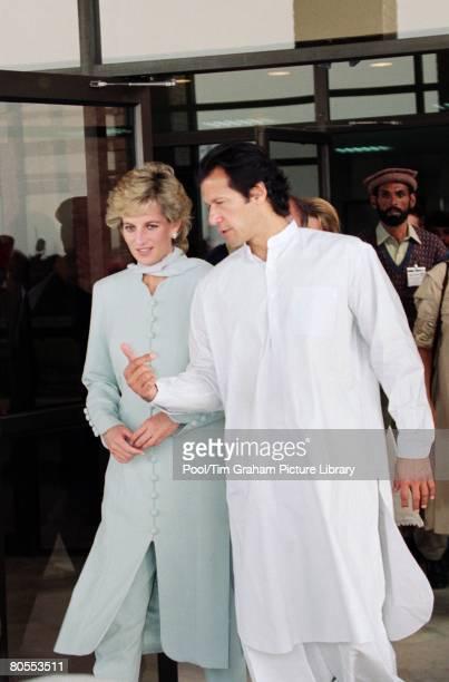 Diana Princess of Wales with Imran Khan at Shaukat Khanum Hospital in Lahore Pakistan