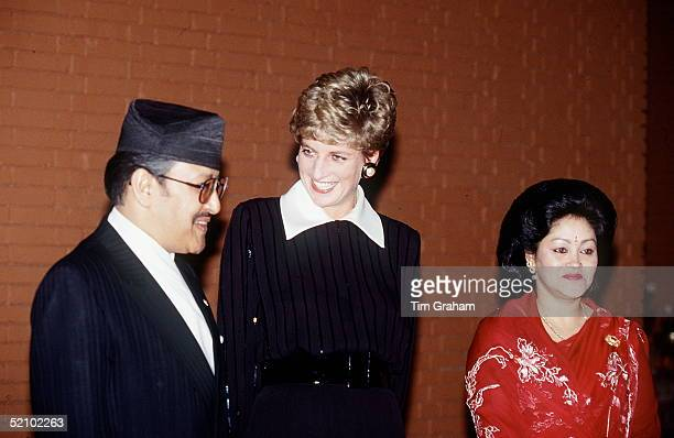 Diana Princess Of Wales With King Birendra Of Nepal And Queen Aishwarya