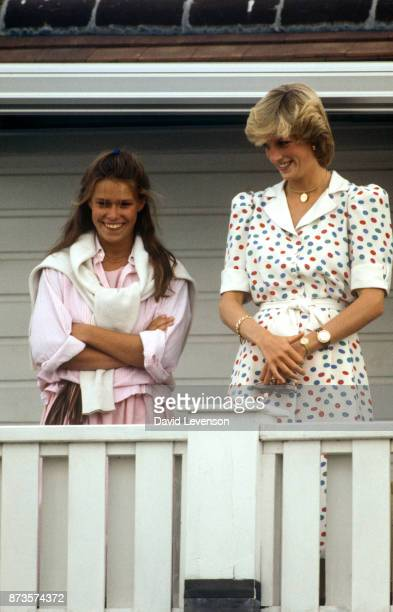 Diana Princess of Wales with Lady Sarah Armstrong Jones at Guards Polo club in Windsor on July 24 1983